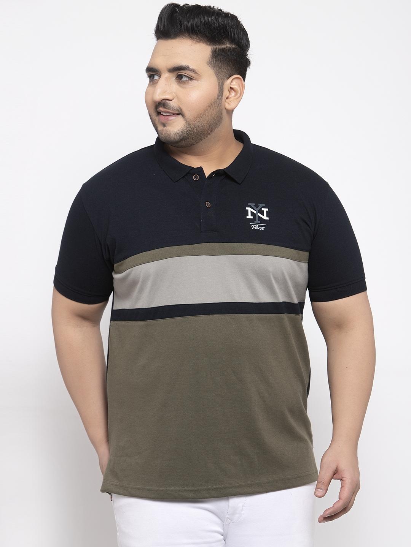 Men Navy Blue Printed Polo Collar T-shirt