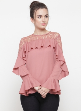 Women Dusty Pink Solid Victorian Top