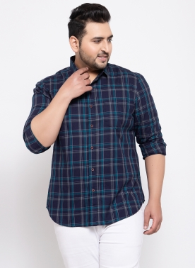 Men Green & White Regular Fit Checked Casual Shirt