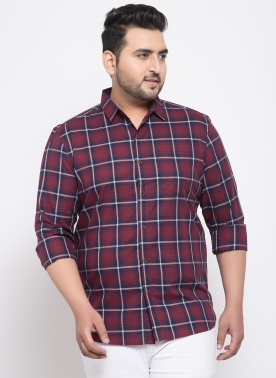 Men Red & Blue Regular Fit Checked Casual Shirt
