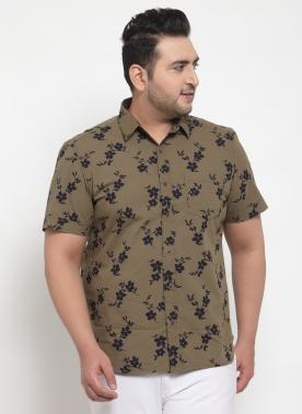 Men Beige & Navy Blue Regular Fit Printed Casual Shirt