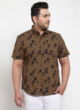 Men Olive Regular Fit Printed Casual Shirt