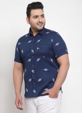 Men Navy Blue & Off-White Regular Fit Printed Casual Shirt