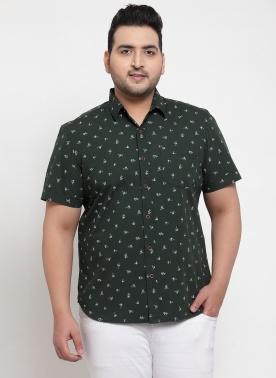 Men Green Regular Fit Printed Casual Shirt