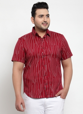 Men Red & Blue Regular Fit Printed Casual Shirt