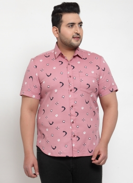 Men Peach-Coloured Regular Fit Printed Casual Shirt