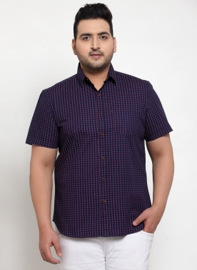 Men Navy Blue & Off-White Regular Fit Printed Casual Shirt