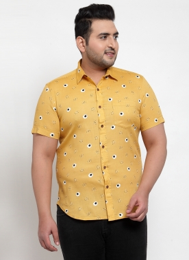Men Yellow Regular Fit Printed Casual Shirt