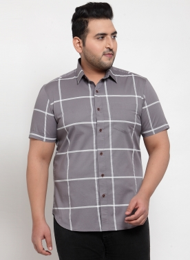 Men Grey Regular Fit Striped Casual Shirt