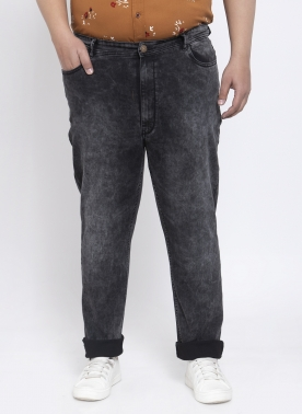 Men Black Regular Fit Mid-Rise Clean Look Jeans