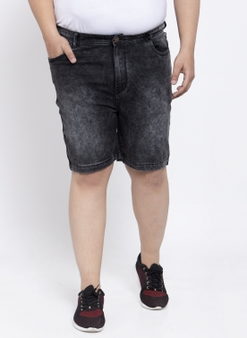 Men Black Solid Regular Fit Denim Shorts