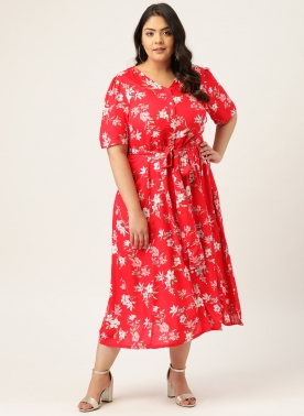 Women Red & White Floral Printed A-Line Dress