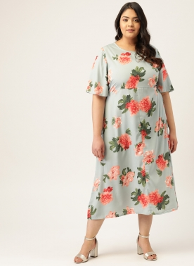 Women Sea Green & PInk Floral Printed A-Line Dress