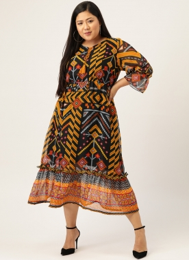 Women Navy Blue & Mustard Yellow Geometric Printed A-Line Dress