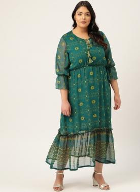 Women Green & Mustard Yellow Geometric Printed Shift Dress