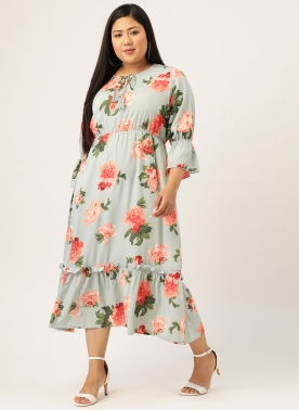 Women Sea Green & Pink Floral Printed Fit and Flare Dress