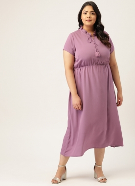 Women Purple Solid Fit and Flare Dress