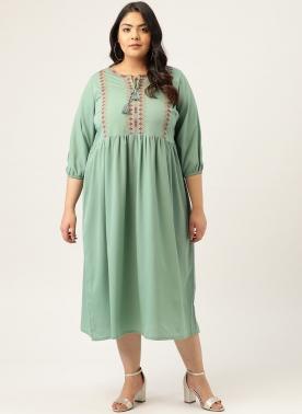 Women Sea Green Solid A-Line Dress