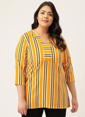 Yellow & Black Vertical Striped Mandarin Collar Regular Top