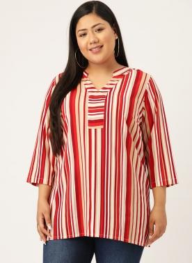 Red & Beige Striped Regular Top