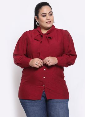Maroon Tie-Up Neck Shirt Style Top