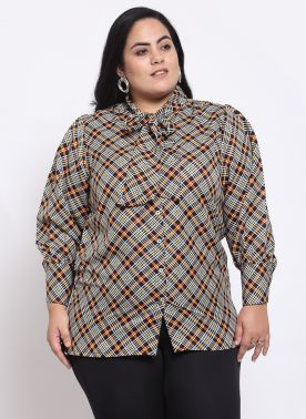 Black & Off-White Checked Tie-Up Neck Shirt Style Top