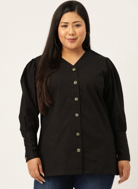 Black Pure Cotton Shirt Style Top