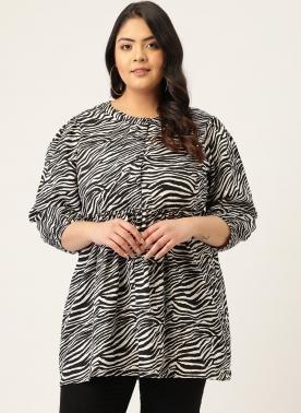 Black & White Zebra Print A-line Top