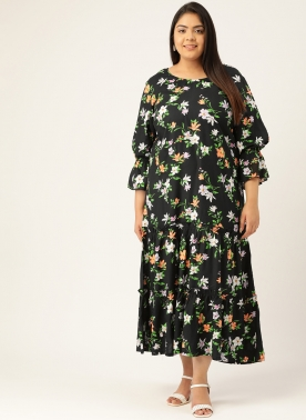Women Black & Peach-Coloured Floral Printed A-Line Dress With Bell Sleeves