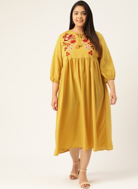 Women Mustard Yellow Embroidered Empire Dress With Tie-Up Neck & Puff Sleeves