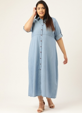 Women Blue Solid Pure Cotton Shirt Style Maxi Dress