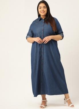 Women Navy Blue Solid Pure Cotton Maxi Denim Dress