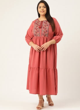 Women Pink Embroidered A-Line Tiered Dress With Tie-Up Neck & Puff Sleeves