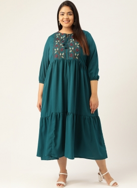 Women Teal Blue Embroidered Empire Tiered Dress With Tie-Up Neck & Puff Sleeves