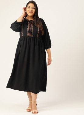 Women Black Embroidered A-Line Dress With Tie-Up Neck & Puff Sleeves