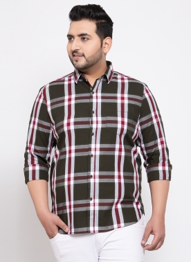 Men Green Comfort Regular Fit Checked Casual Shirt
