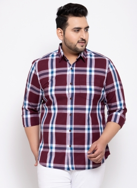 Men Turquoise Blue Regular Fit Checked Casual Shirt