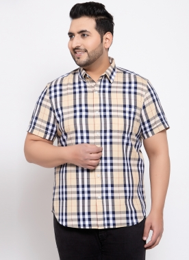 Men Beige & White Regular Fit Printed Plus Size Casual Shirt