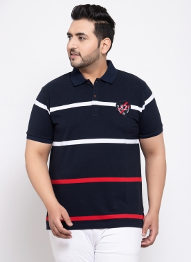 Men Navy Blue & White Striped Polo Collar T-shirt