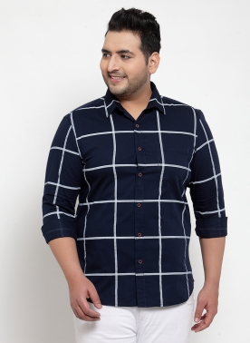 Men Navy Blue Regular Fit Checked Casual Shirt
