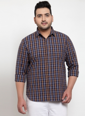 Men Brown Regular Fit Checked Casual Shirt