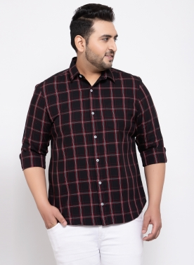 Men Black & Red Regular Fit Checked Casual Shirt