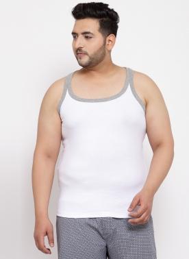 Men White Solid Basic Innerwear Vest