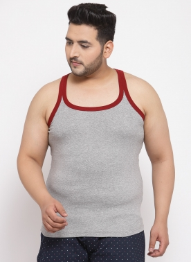 Men Grey Melange Solid Innerwear
