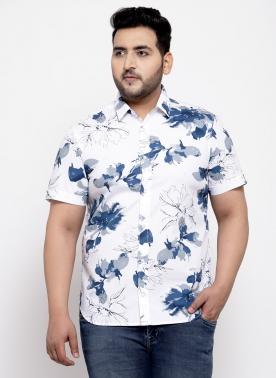 Men White & Blue Regular Fit Printed Casual Shirt