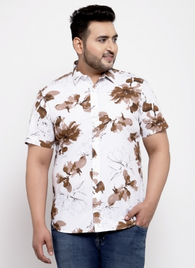 White & Brown Regular Fit Printed Casual Shirt