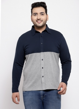Men Navy Blue & Grey Standard Fit Colourblocked Casual Shirt
