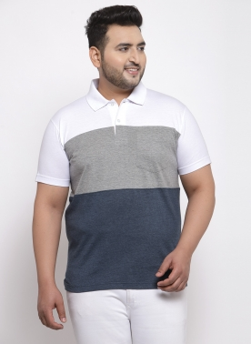 Men White & Grey Solid Polo Collar T-shirt