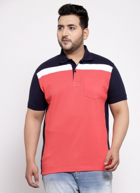 Men Rust Red & Black Solid Polo Collar T-shirt
