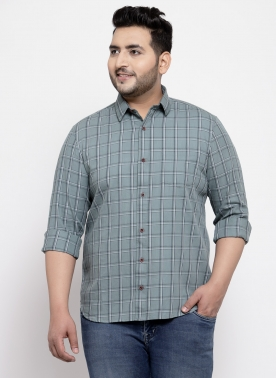Men Grey & Navy Blue Regular Fit Checked Casual Shirt